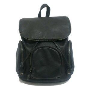 Faux Leather Drawstring Zipper Mini Backpack